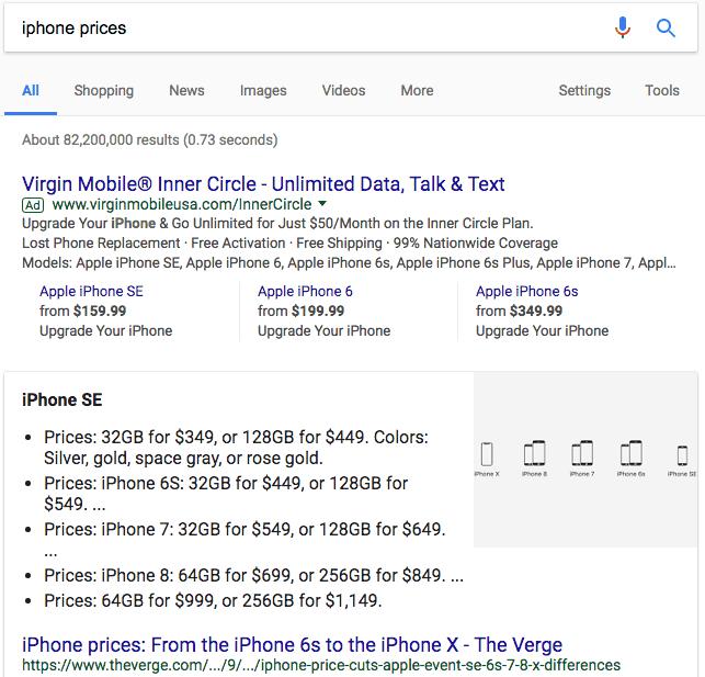 箇条書きリストの強調スニペットの例:iPhone価格