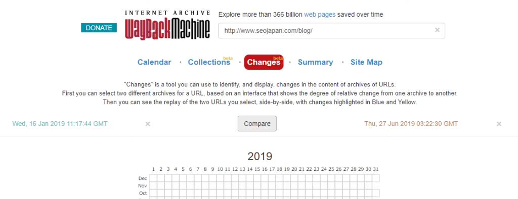 Wayback Machineに新機能「Changes」が追加。コンテンツの追加と削除の差分が比較可能に