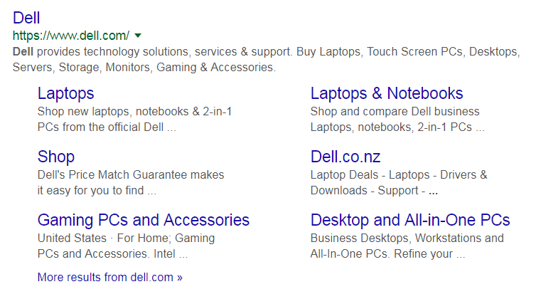 dell sitelinks google
