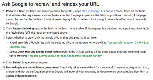 Ask Google to recrawl and reindex your URL(After)