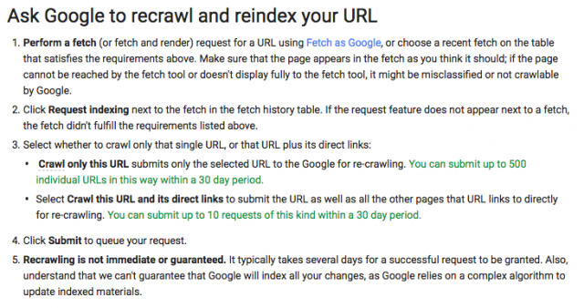 Ask Google to recrawl and reindex your URL(Before)
